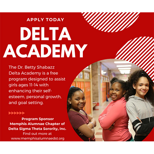 Dr. Betty Shabazz Delta Academy is a gree program desgined to assist girls ages 11-14 with enhancing self esteem, personal growth and goal setting.
